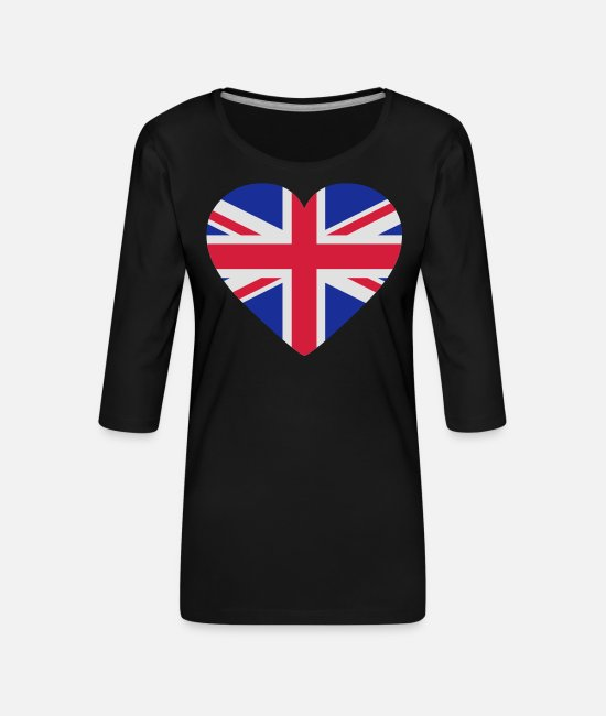 Heart Long-Sleeved Shirts - Heart Britain - Women's Premium 3/4-Sleeve T-Shirt black