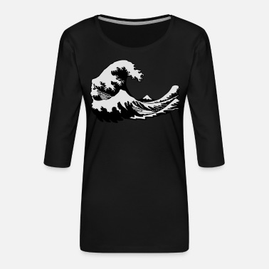 Estampes Japonaises vague - T-shirt Premium manches 3/4 Femme