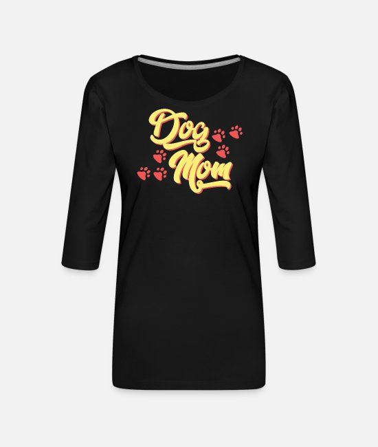Dog Owner Long sleeve shirts - Dog Mom T-Shirt with paws - Women's Premium 3/4-Sleeve T-Shirt black