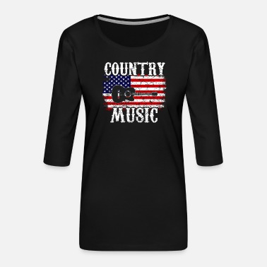 Country Countrymusik western rodeo usa - Premium-T-shirt med 3/4-ärm dam