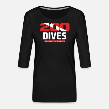 Shark Diver dive passion gift - Women's Premium 3/4-Sleeve T-Shirt