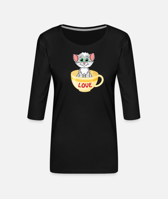 Katt Långärmade T-shirts - I Love Cats Kitten Lovers Cat Lover Cat In Cup Cut - Premium-T-shirt med 3/4-ärm dam svart