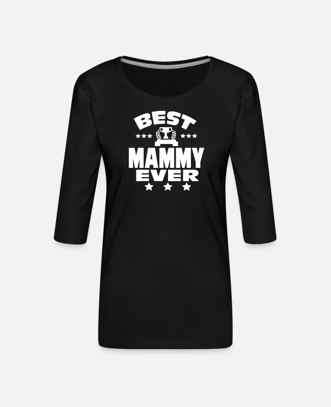 Pregnant Long-Sleeved Shirts - BEST MAMMY EVER - Women's Premium 3/4-Sleeve T-Shirt black