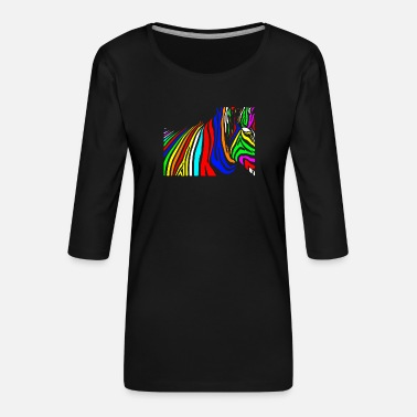Mythical Beast Colorful zebra colorful mythical beast - Women's Premium 3/4-Sleeve T-Shirt