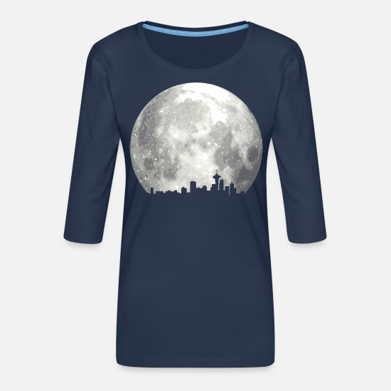 Full Moon Long Sleeve Shirts - full moon skyline - Women's Premium 3/4-Sleeve T-Shirt navy