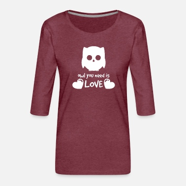 owl, animal, bird, love - Women's Premium 3/4-Sleeve T-Shirt