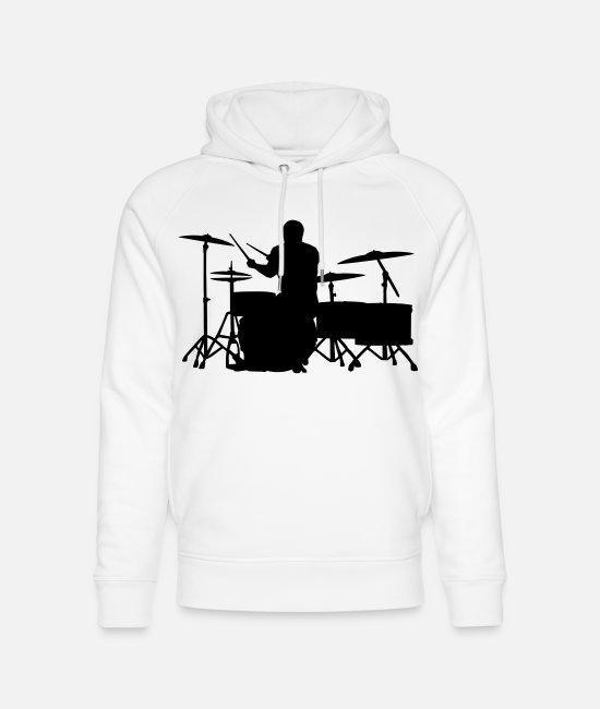 Bass Hoodies & Sweatshirts - Bald Drummer on Greater Set - Unisex Organic Hoodie white