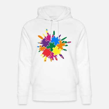 Puzzle Autism Awareness Puzzle Colorful Splash - Unisex Organic Hoodie