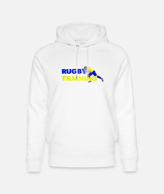 Training Hoodies & Sweatshirts - RUGBY TRAINING Blue and yellow - Unisex Organic Hoodie white