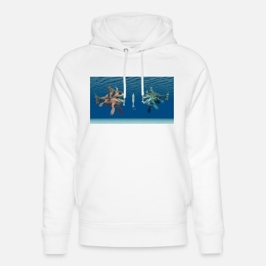 3d Fish hook with two monstrous fish - Unisex Organic Hoodie