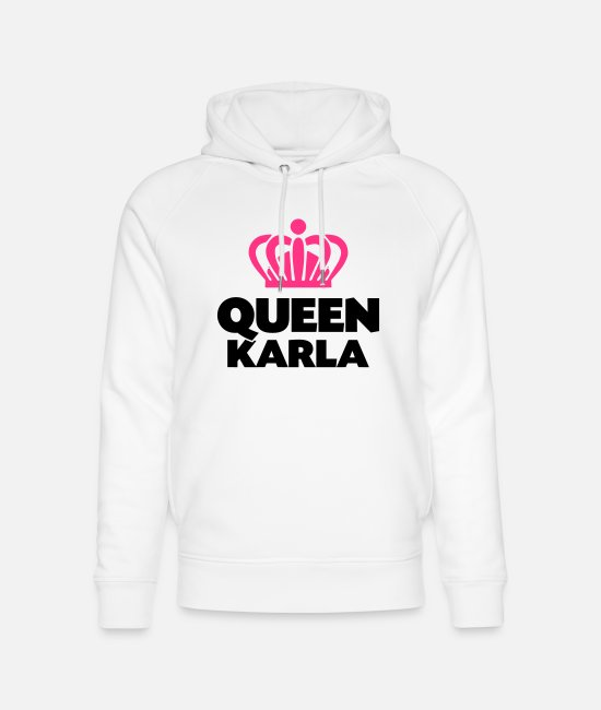 Crown Hoodies & Sweatshirts - Queen karla name thing crown - Unisex Organic Hoodie white