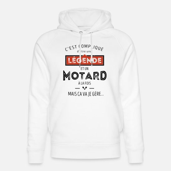 Moto Sweat-shirts - Légende et motard - Sweat à capuche bio unisexe blanc