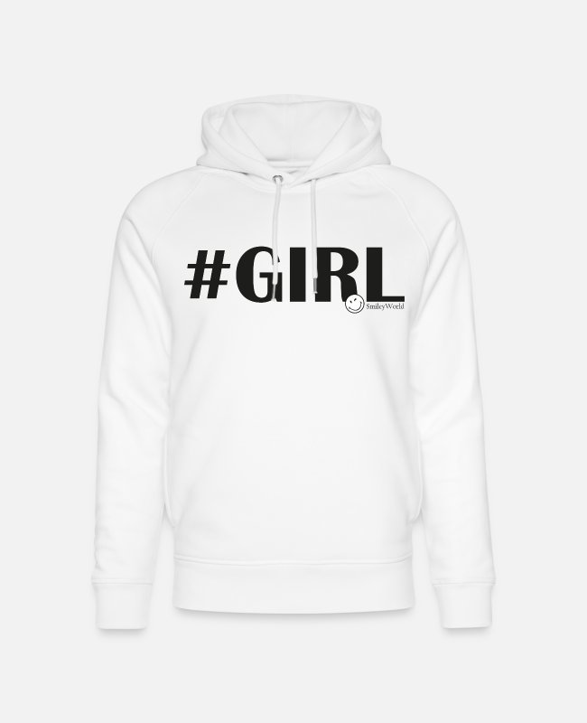 Hashtag Sweaters & hoodies - SmileyWorld #Girl - Uniseks bio hoodie wit