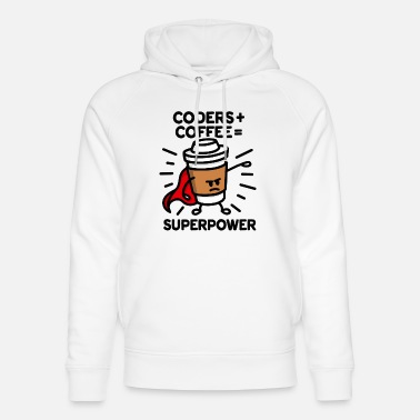Coders Coders + coffee = superpower (superhero) light - Unisex luomu huppari