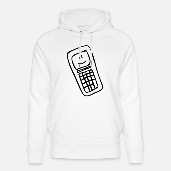 Touche Sweat-shirts - Mobile Smiley - Sweat à capuche bio unisexe blanc