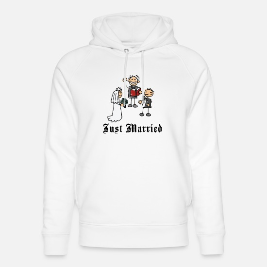Bride Hoodies & Sweatshirts - Funny Just Married - Unisex Organic Hoodie white