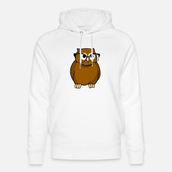 Bird Hoodies & Sweatshirts - Owl With Glasses Icon Style Nocturnal Predator - Unisex Organic Hoodie white