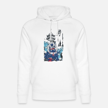 Spreadshirtlikes Blanc/noir Chine Chien Monster - récolte de la - Sweat à capuche bio unisexe