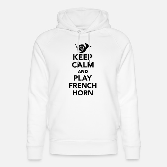 French Horn Sweat-shirts - Keep calm and play french horn - Sweat à capuche bio unisexe blanc