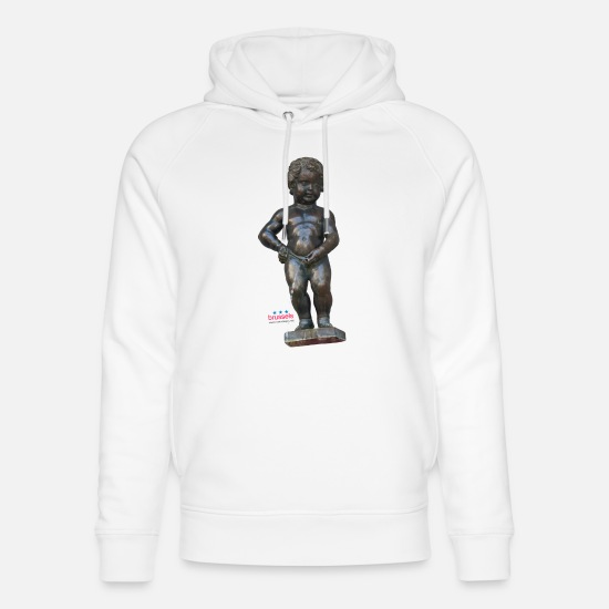 Pis Sweat-shirts - BiG REAL mannekenpis ♀♂ | 小便小僧 - Sweat à capuche bio unisexe blanc