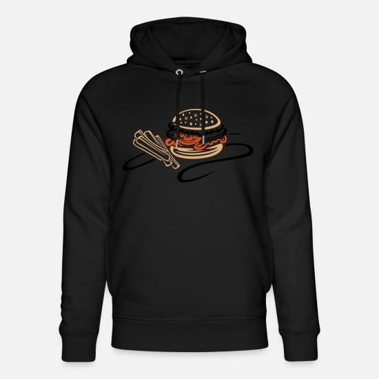 Lunch Hoodies & Sweatshirts - Burger with tomato and french fries - Unisex Organic Hoodie black