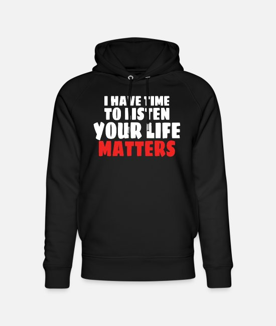 Mental Health Hoodies & Sweatshirts - MENTAL HEALTH AWARENESS: Life Matters - Unisex Organic Hoodie black