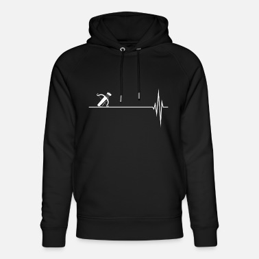 Arrow Quiver with bow and arrows heartbeat - Unisex Organic Hoodie