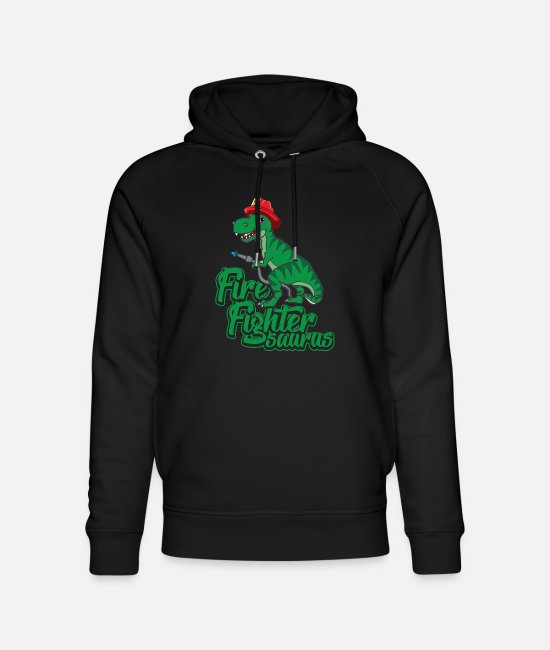 Fire Department Hoodies & Sweatshirts - FIRE FIGHTER SAURUS - Unisex Organic Hoodie black