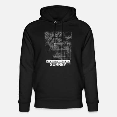 Surrey Straight Outta Surrey city map and streets - Unisex Organic Hoodie