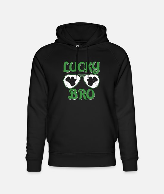 Lucky Hoodies & Sweatshirts - St Patrick's Day Irish Ireland Holiday Shamrock - Unisex Organic Hoodie black