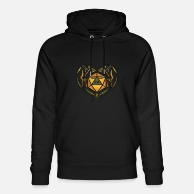 Dice Fantasy D20 dice heart with ax bow dagger RP - Unisex Organic Hoodie