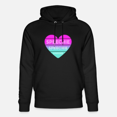 Speechie speech therapy gifts with retro heart - Unisex Organic Hoodie