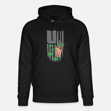 Pearl Boba Tea St. Patrick's Day - American Flag - Unisex Organic Hoodie