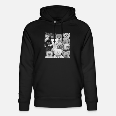 Ellenicoart Teddy bear - lots of teddy bears - black and white - Unisex Bio Hoodie