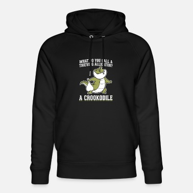 Funny Crocodile Design Quote Thieving Crookodile - Unisex Organic Hoodie