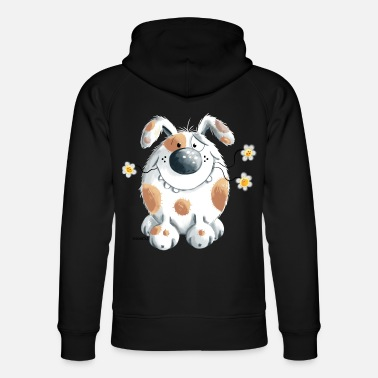Dog Caricature Funny dog with flower - Unisex Organic Hoodie