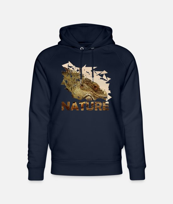 Nature Hoodies & Sweatshirts - Lizard nature naturecontest reptile crocodile - Unisex Organic Hoodie navy