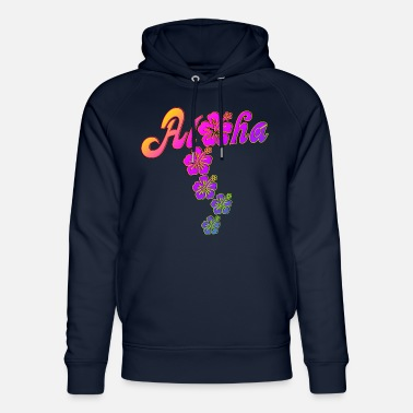 Oahu Aloha Hibiscus Blossoms - colored fill - Unisex Organic Hoodie