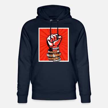Democracy Peace, Power to the people, love, fist pump - Unisex Organic Hoodie
