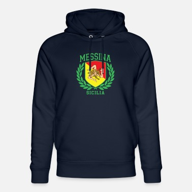 Cefalü MESSINA: Sicilia Flag and Trinacria Shield Design - Unisex Organic Hoodie