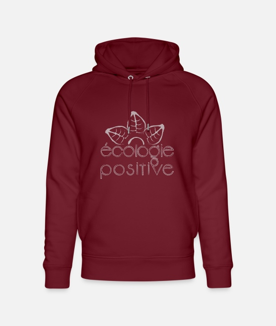 Eco Hoodies & Sweatshirts - positive ecology white - Unisex Organic Hoodie burgundy