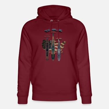 Three US battleships - Unisex Organic Hoodie