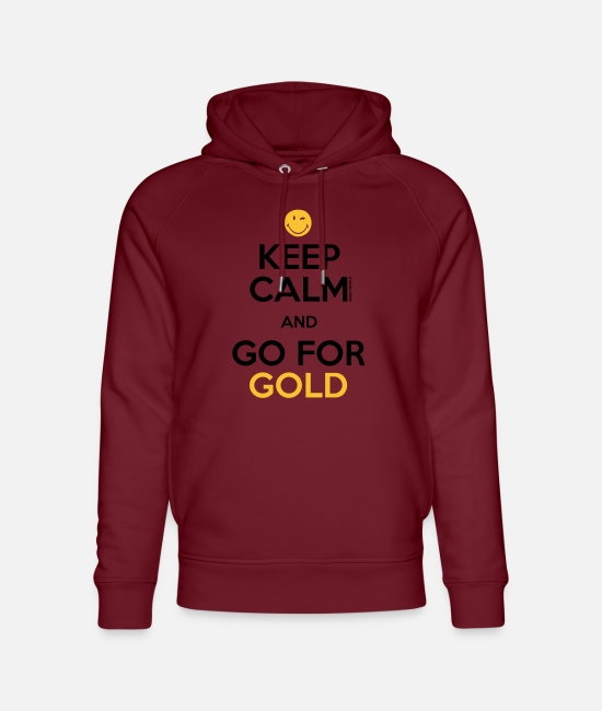 Smileys Tröjor & hoodies - SmileyWorld Keep Calm and Go for Gold - Ekologisk luvtröja unisex vinröd