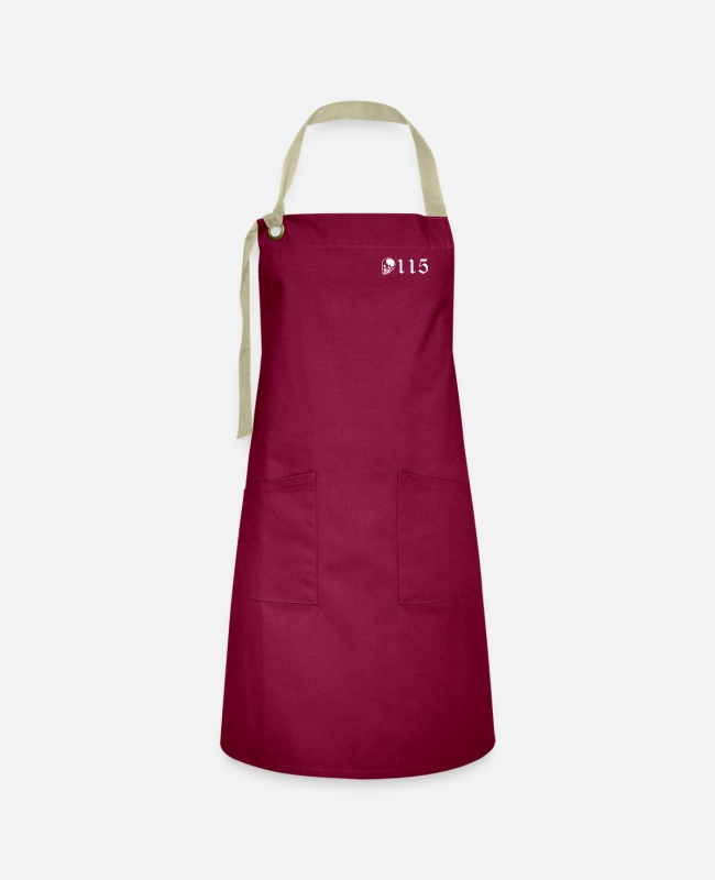 Number Aprons - 115 skull one hundred fifteen - Artisan Apron burgundy / desert sand