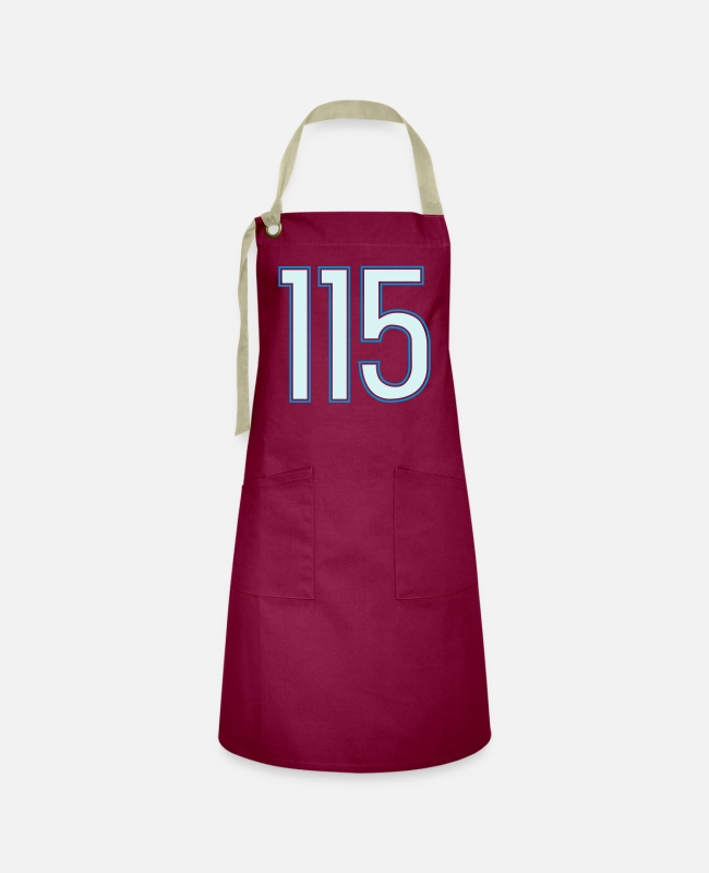 Hundred Fifteen Aprons - 115, Hundertfünzehn, Hundred Fifteen, Pelibol ™ - Artisan Apron burgundy / desert sand