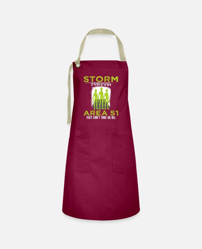 "Space Aprons - ""Storm 37 14'0'N 115 48'30'W Area 51 They Can't - Artisan Apron burgundy / desert sand"