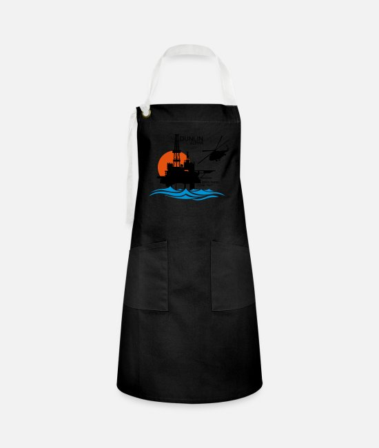 Profession Aprons - Dunlin Alpha Oil Rig Platform North Sea Aberdeen - Artisan Apron black/white