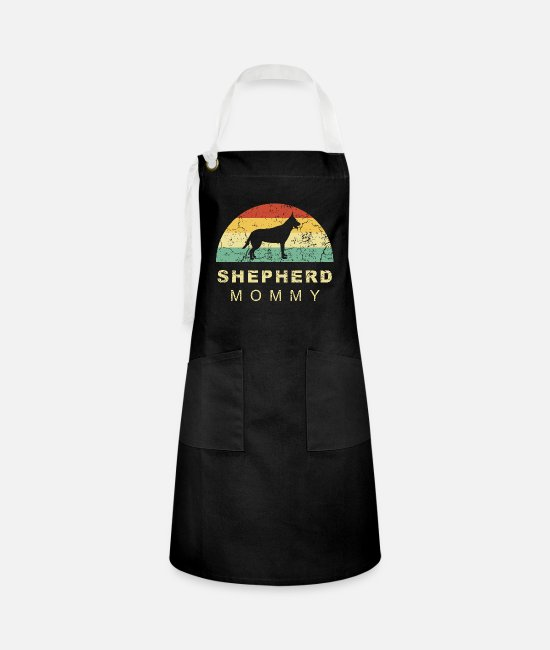 Male Puppy Dog Puppy Aprons - Grunge retro vintage german shepherd dog mom - Artisan Apron black/white