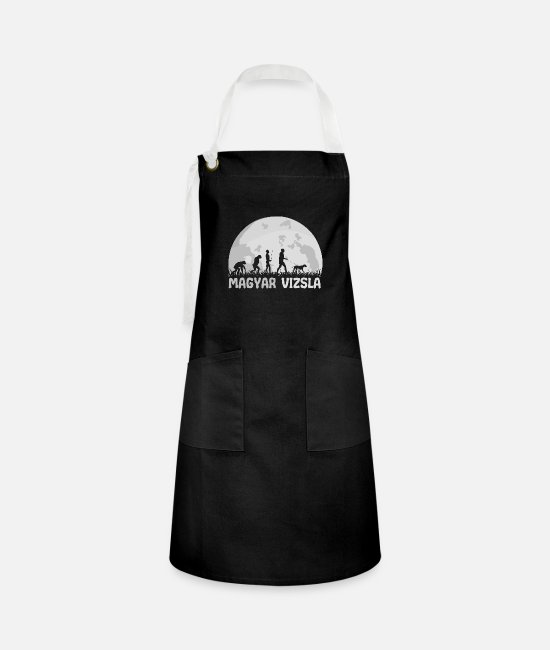 Offensive Aprons - Vizsla Hungarian Magyar full moon evolution - Artisan Apron black/white