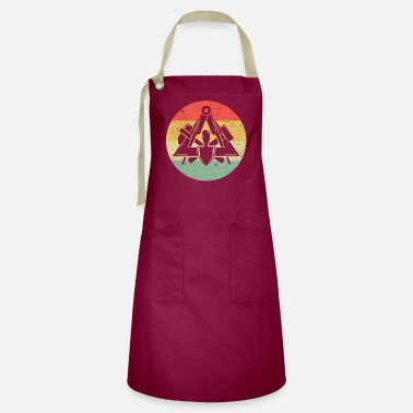 Workwear Masons guild symbol on cool vintage retro colors - Artisan Apron